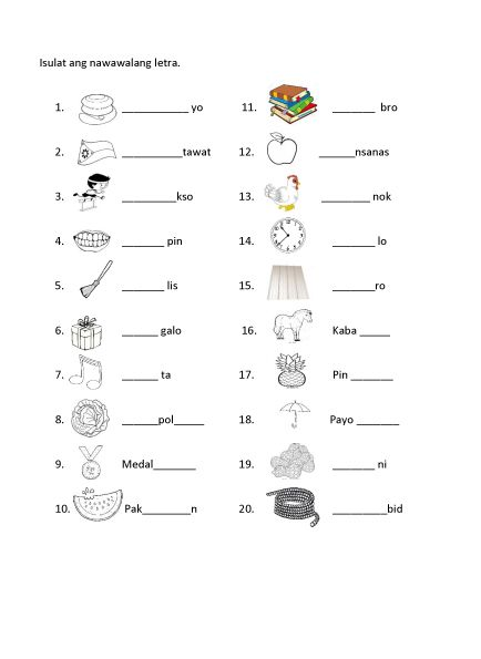 Filipino Worksheet - Fill in the blanks | Preparatory Reviewer ...