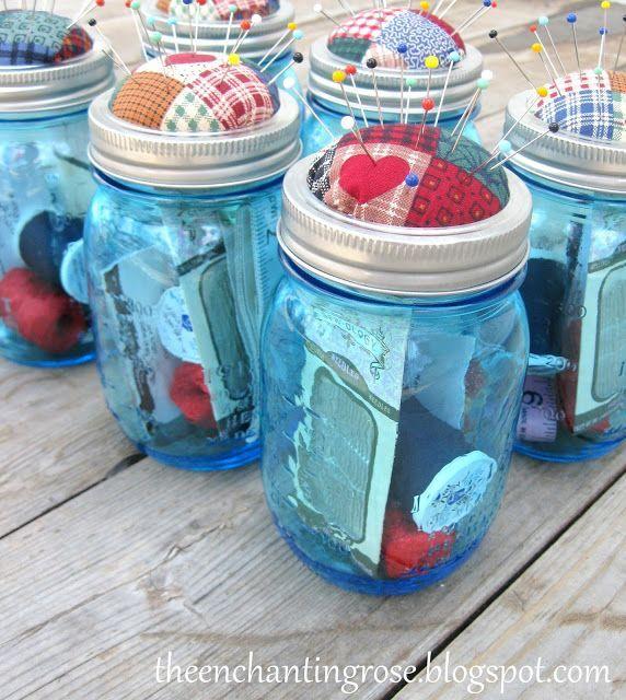 The Enchanting Rose Mason Jar Pincushions