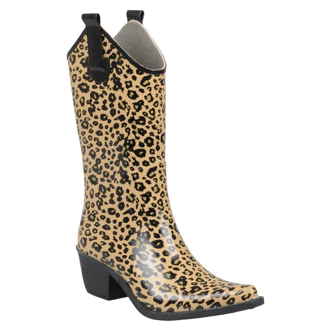 b9a288bcb89 Women's Leopard Print Cowboy Rainboots - Tan | shoes | Cowboy rain ...