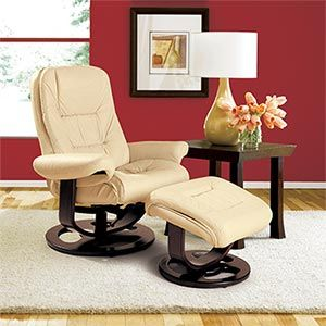 Lane Andre Ivory Top Grain Leather Reclining Chair And Ottoman