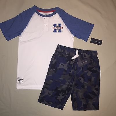 a2ec206097 BOYS M 10 12 TOMMY HILFIGER SHIRT SHORTS LOT OF 2 OUTFIT NWT