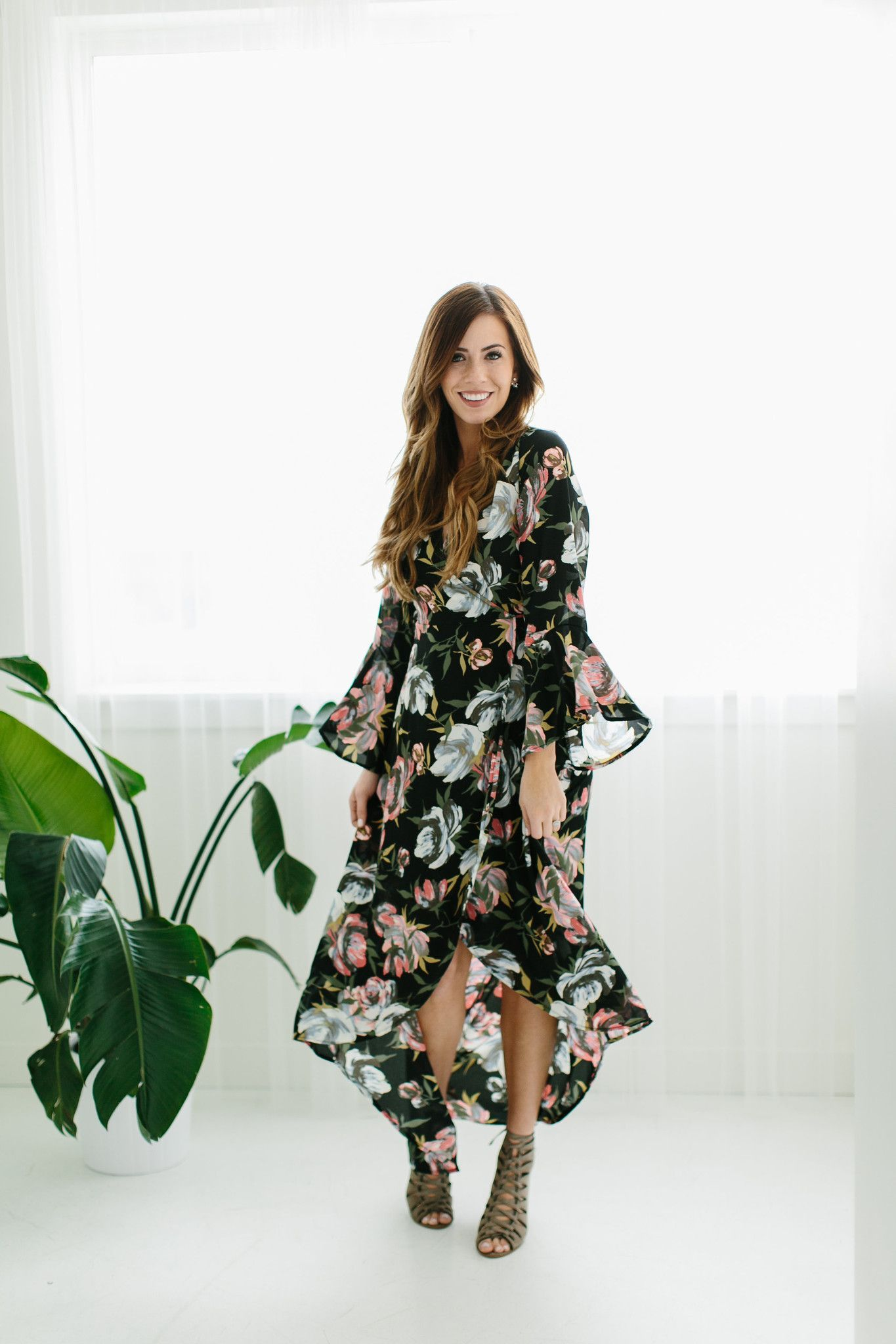 Black Floral High Low Dress True Wrap Dress Waist Tie Long Sleeves With Bell Nursing Friend Floral High Low Dress Contemporary Outfits Bohemian Clothes [ 2048 x 1365 Pixel ]