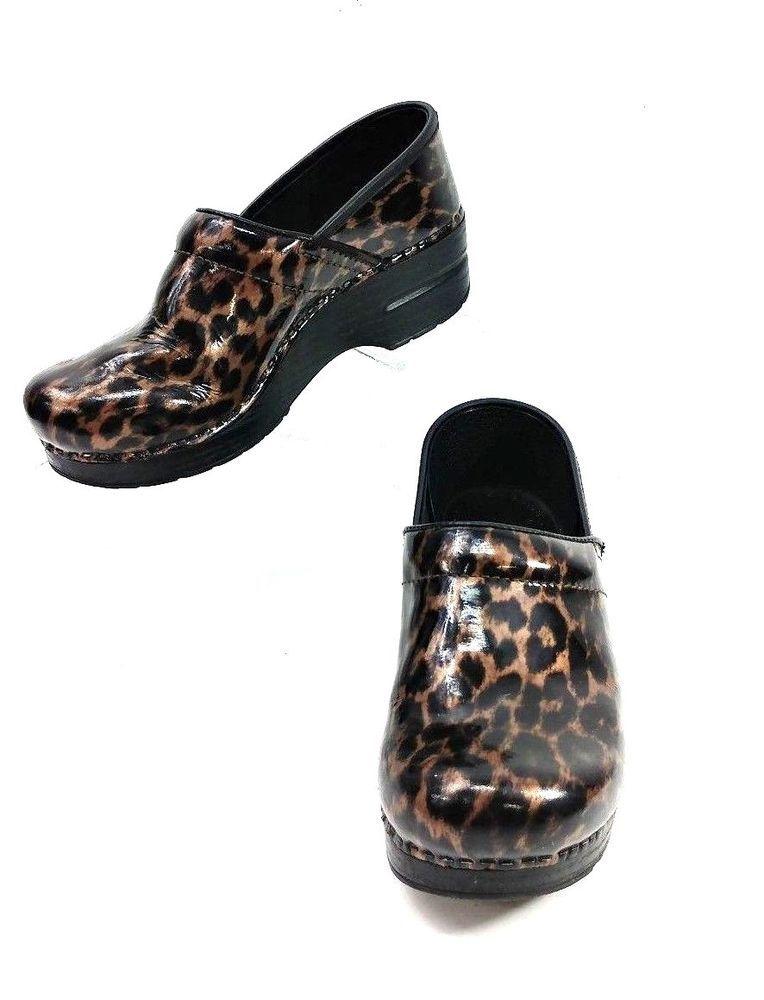 c65f382ae18 Dansko Shoes Womens Sz 38 Clogs Patent Leather Cheetah Print Animal ...