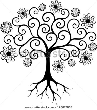 Tree with curly branches   Draw designs   Bulletin board