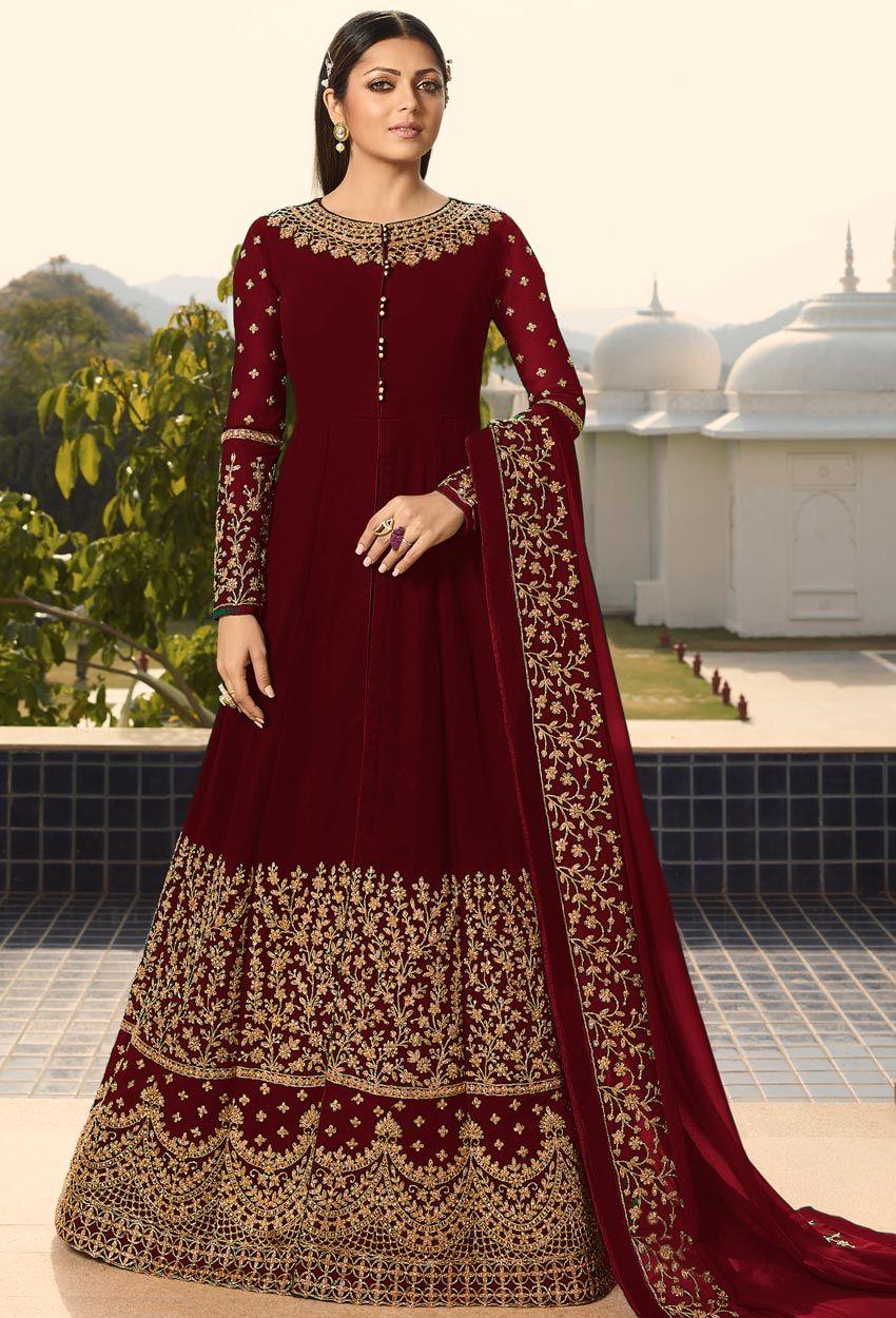 Drashti Dhami In Maroon Georgette Designer Anarkali Suit Designer Anarkali Anarkali Dress Anarkali Gown