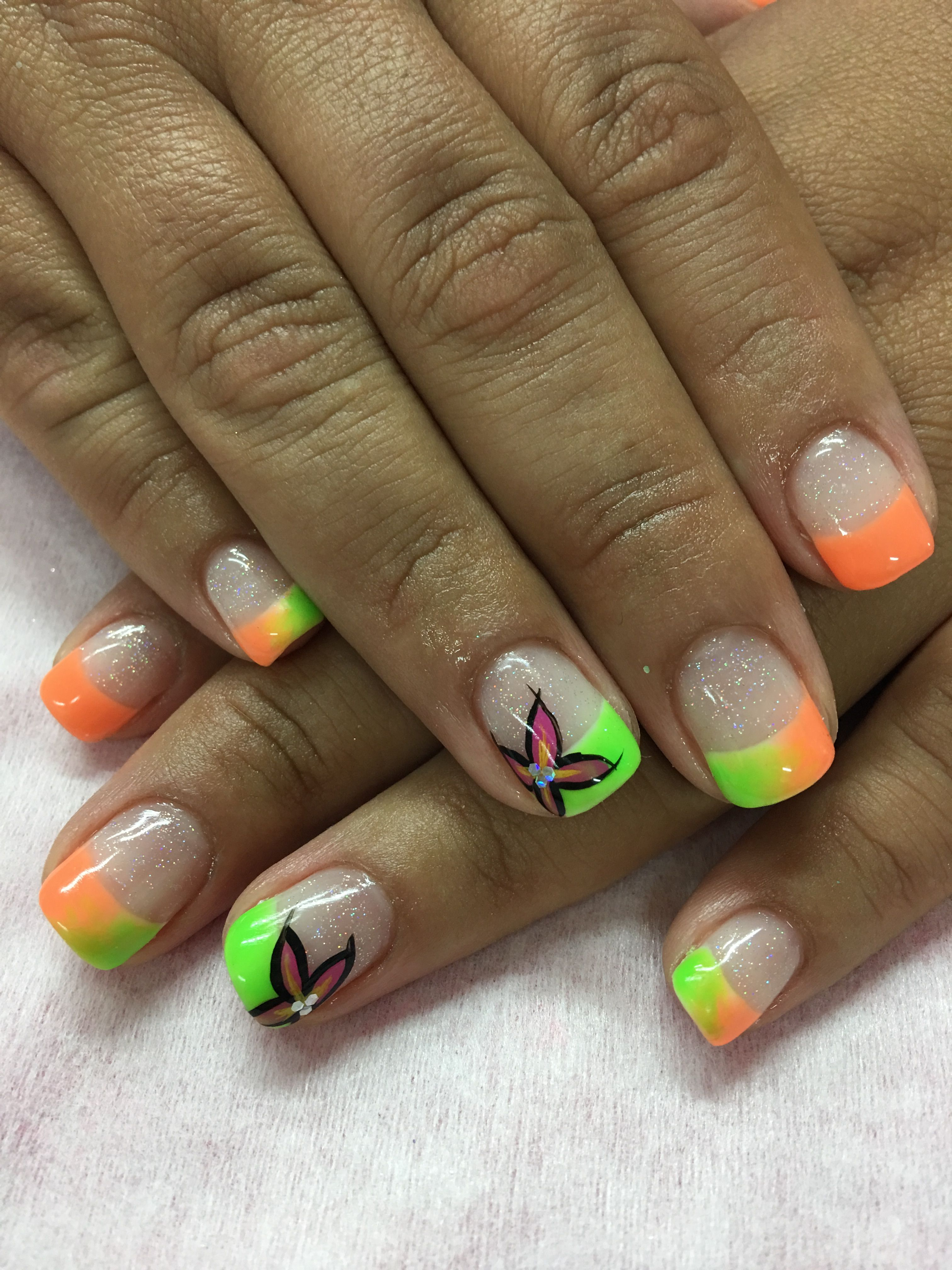 Neon Peach Orange and Lime tropical summer Ombré French Gel Nails ...