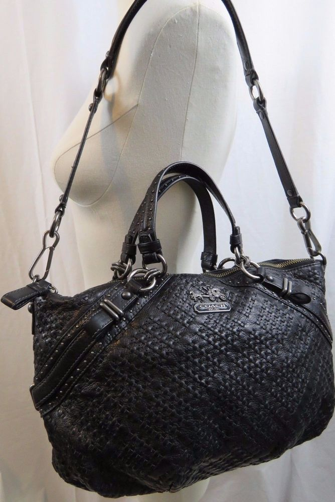 Coach Madison Sophia Black Woven Leather Purse Shoulder Bag Purple Lining 17757 Shoulderbag