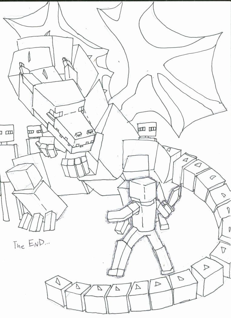 Ender Dragon Coloring Page Awesome A Drawling Of The Ender Dragon Minecraft Dragon Coloring Page Minecraft Coloring Pages Unicorn Coloring Pages