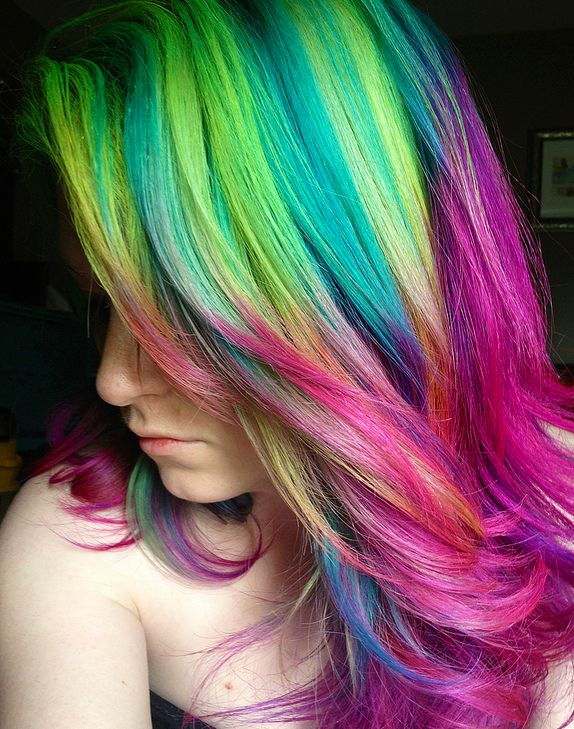 2014 Hot Ombre Highlights Trend 30 Rainbow Colored Hairstyles For