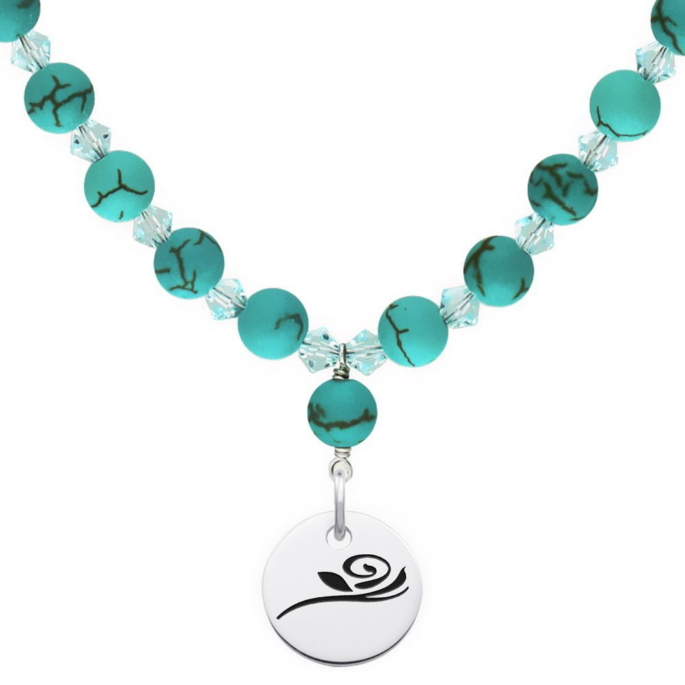 Alpha Gamma Delta Symbol Turquoise Necklace With Circle Charm