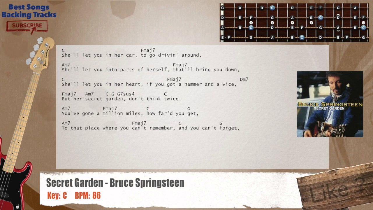 Secret Garden Bruce Springsteen Bass Backing Track with