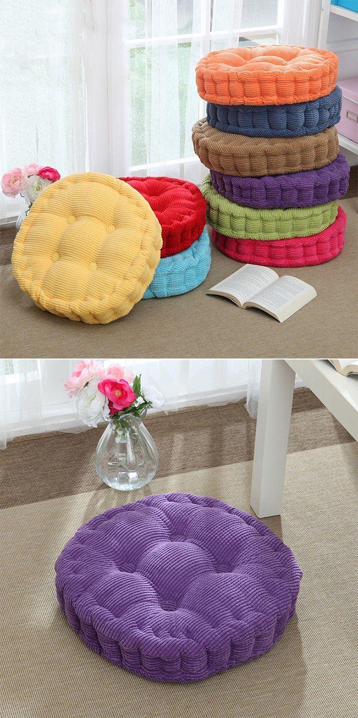 40/45/50cm Washable Corduroy Tatami Floor Seat Cushion Round Plaid Winter Warm Chair Pad Cushion
