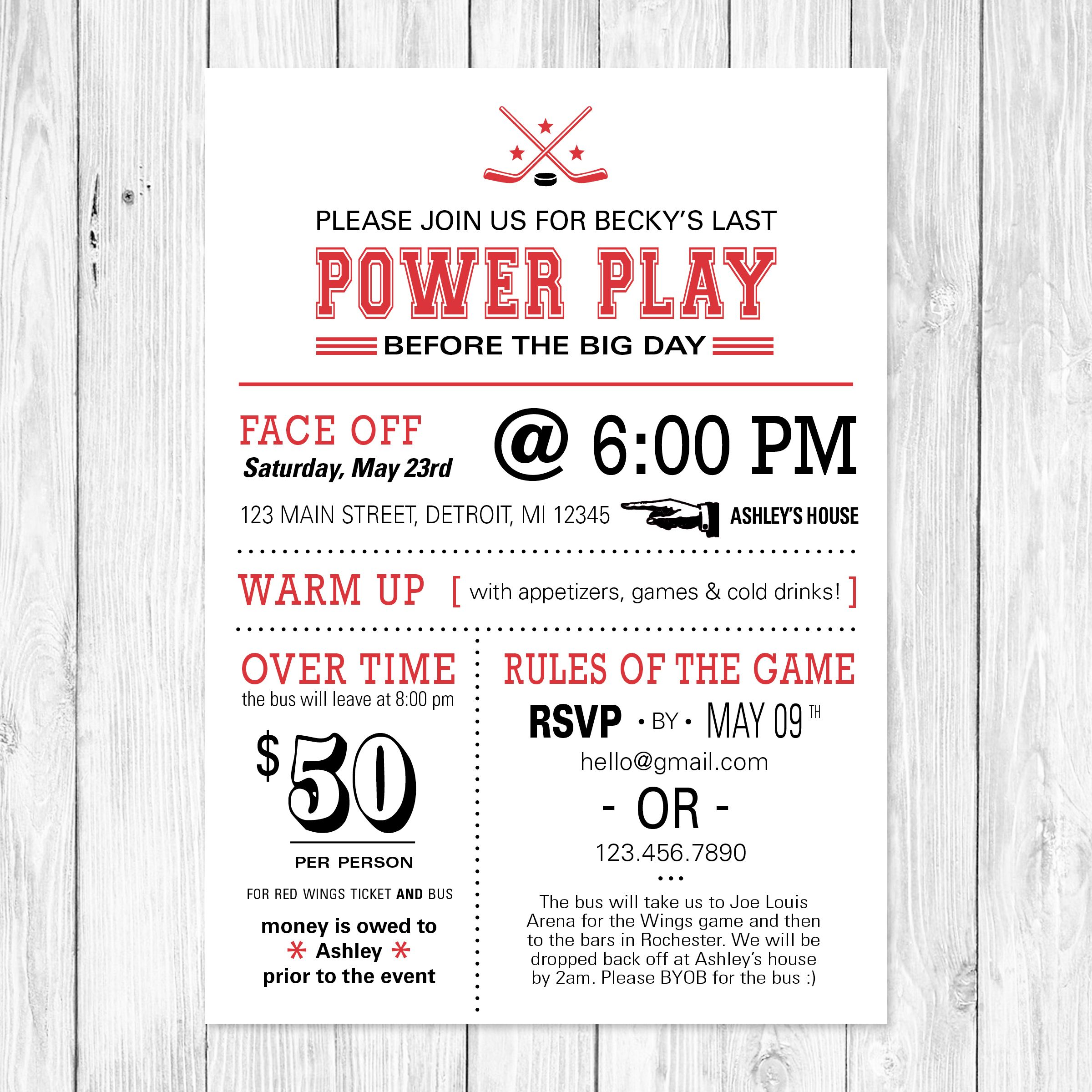 The Last Power Play - Hockey themed bachelorette party invitation ...