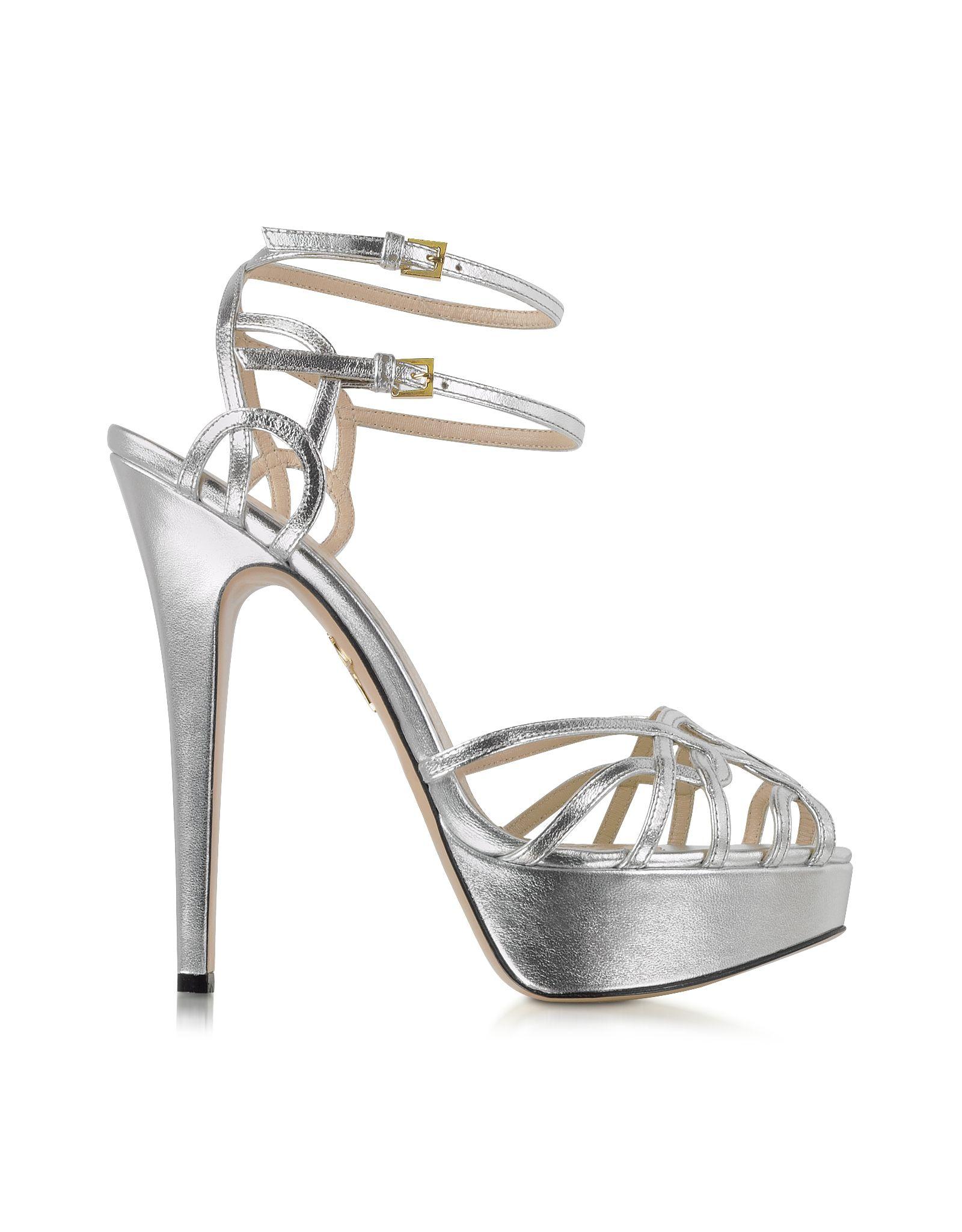 Charlotte Olympia Ursula Silver Metallic Platform Sandal 37 (7 US | 4 UK | 37 EU) at FORZIERI