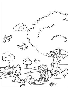 Ausmalbild Fruhling Kinder Beim Picknick Ausmalbilder Fruhling Ausmalen Herbstmotive