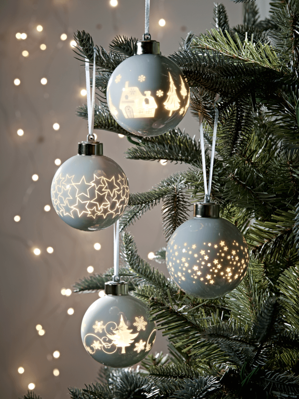 Twelve Light Up Baubles Christmas Christmas Tree