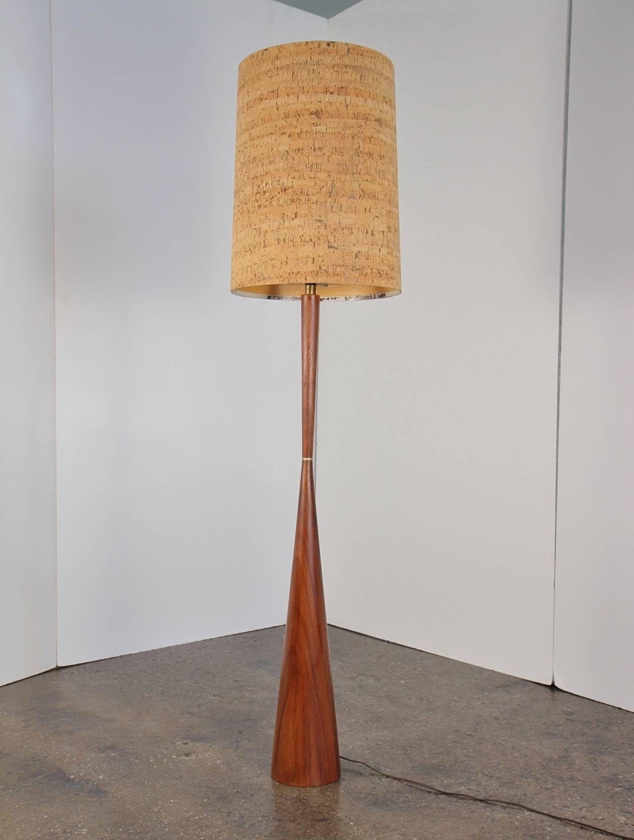 Large mid century walnut floor lamp with cork shade walnut floors large mid century walnut floor lamp with cork shade aloadofball Images