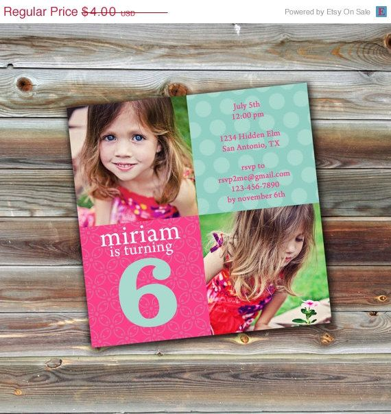 ON SALE 0563 5x5 Birthday Invitation Photoshop PSD Photo Card - birthday invitation card template photoshop