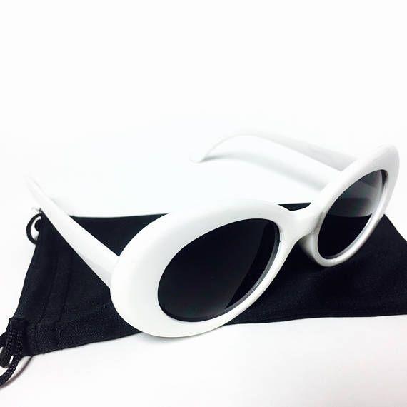 Retro Oval Frame Tinted Dark Lens Retro 90s Kurt Cobain Sunglasses ...