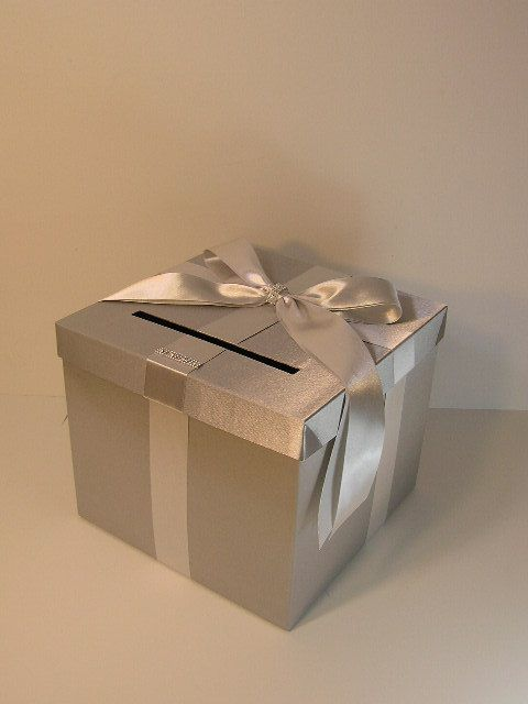 wedding card box blue gift card box money box holder customizemade to order 10x10x9