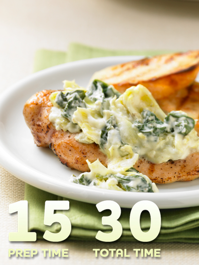 Spinach and Artichoke Topped Chicken… Healthy, quick and tasty, this recipe delivers on it all. The spinach and artichoke sauce add flavor, while the chicken makes this healthier recipe a protein-packed winner. Enjoy this meal tonight!