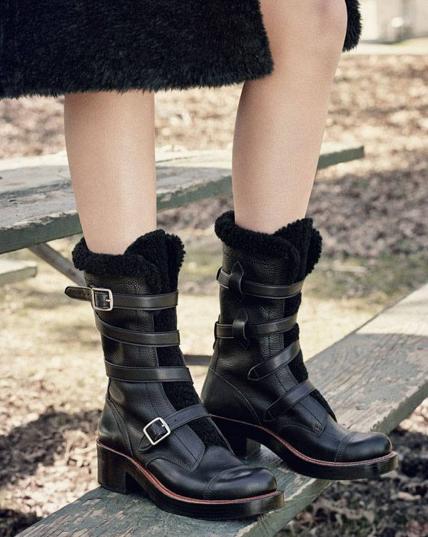 Biker-girl style meets luxe shearling in the perfect cold-weather moto boot.
