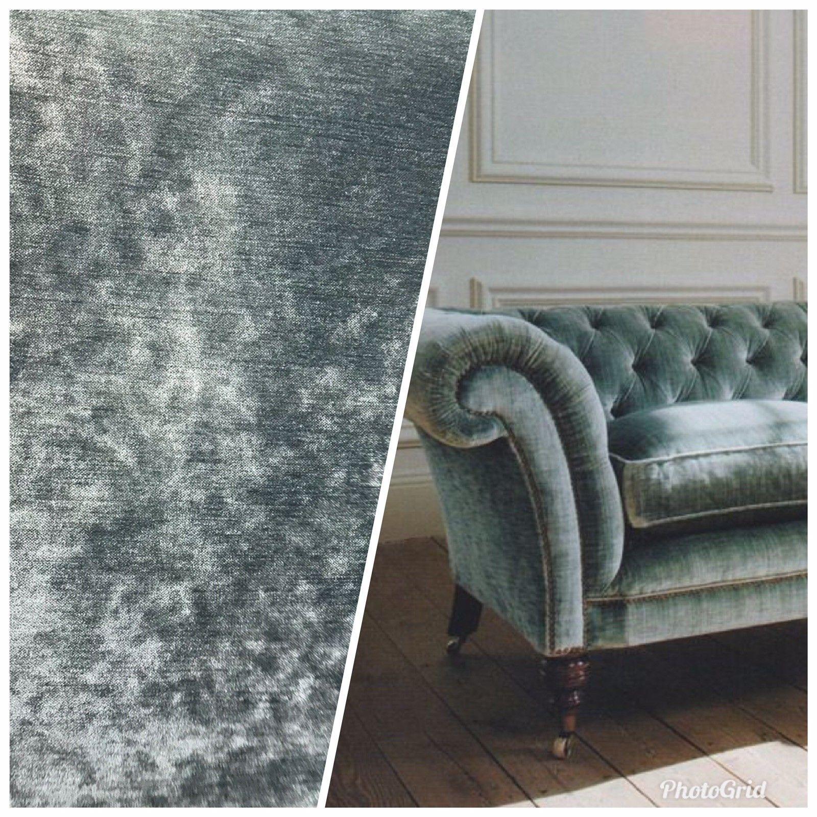 NEW Designer Velvet Upholstery Fabric - Green Grey- By the yard #velvetupholsteryfabric