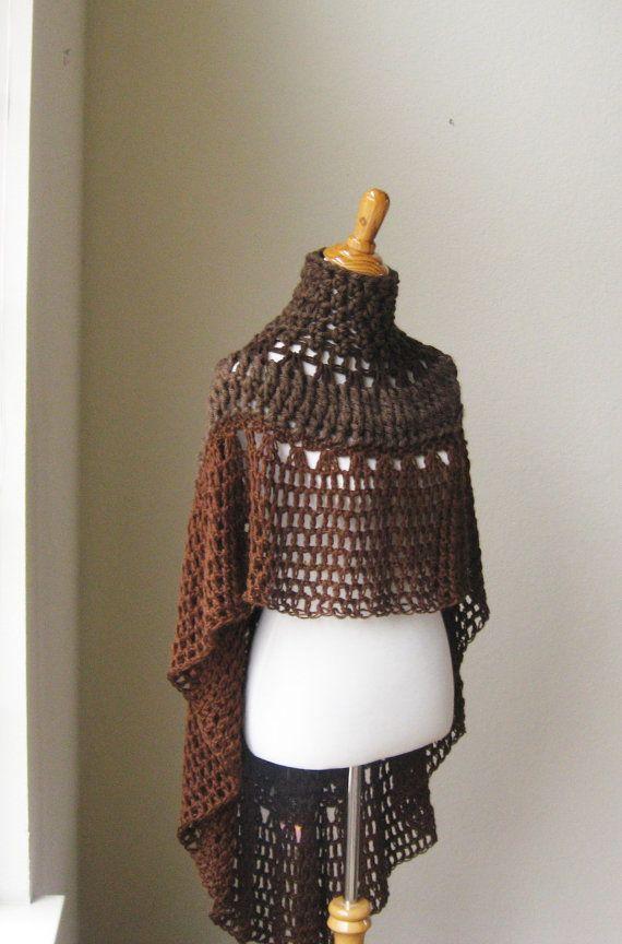BROWN PONCHO BOHO Chic Crochet Bohemian Yoga Poncho Shawl Capelet ...