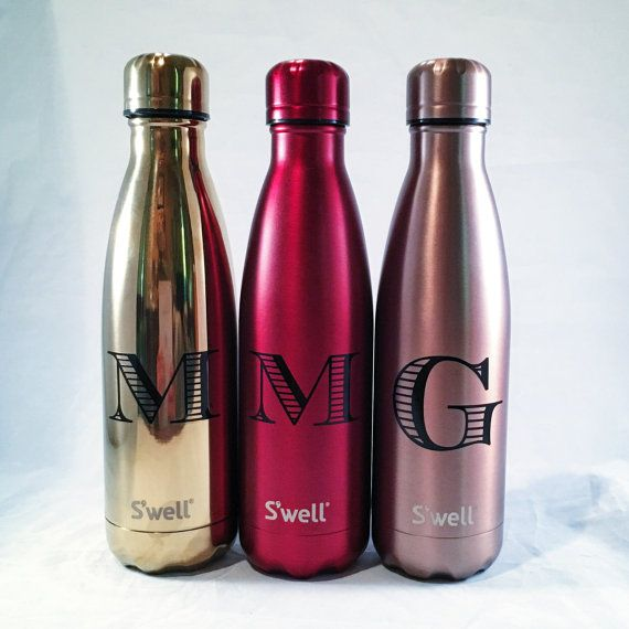 Personalized S Well Bottle Initial Swell By Paperandpi