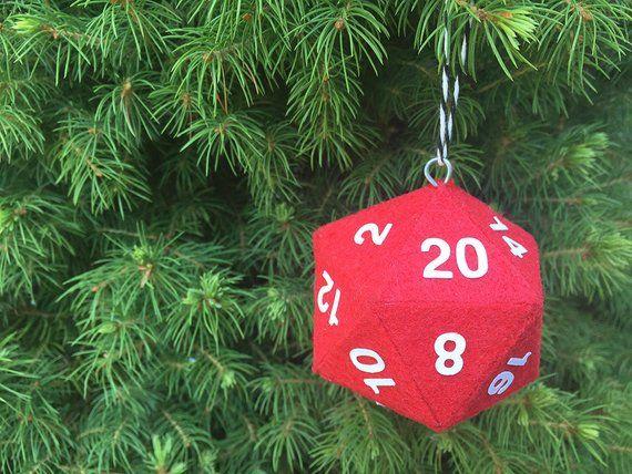 Geek Christmas Ornaments.D20 Polyhedral Dice Geek Christmas Tree Ornament Duneons