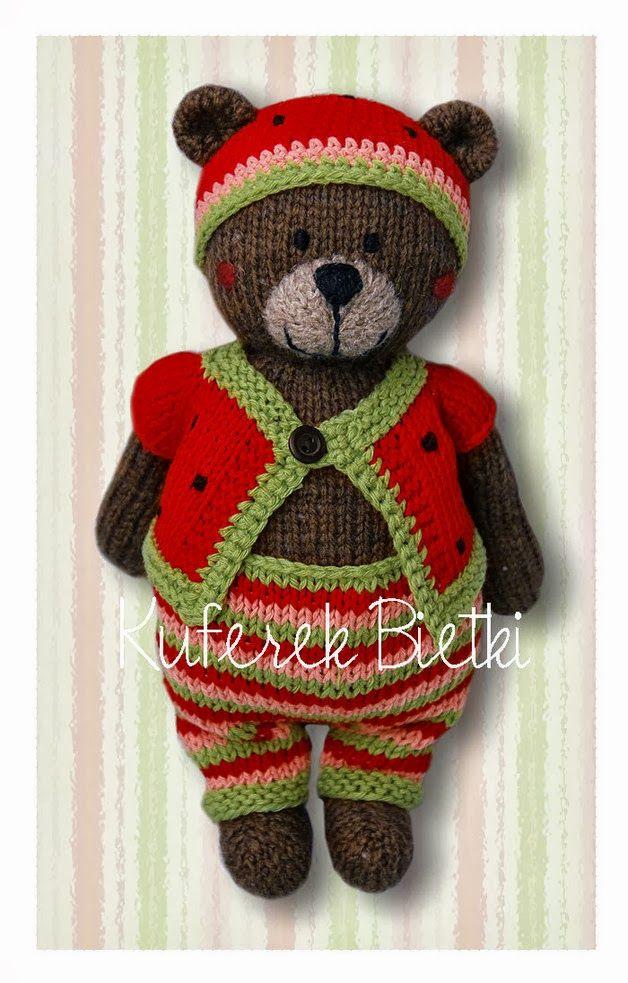 Kuferek Bietki: Miś/ Wassermelone gestrickter Bär/ Knitted bear ...