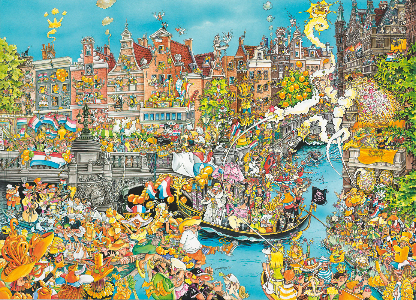 Brand New 1000 Pieces King Amsterdam King/'s Day Jigsaw Puzzle