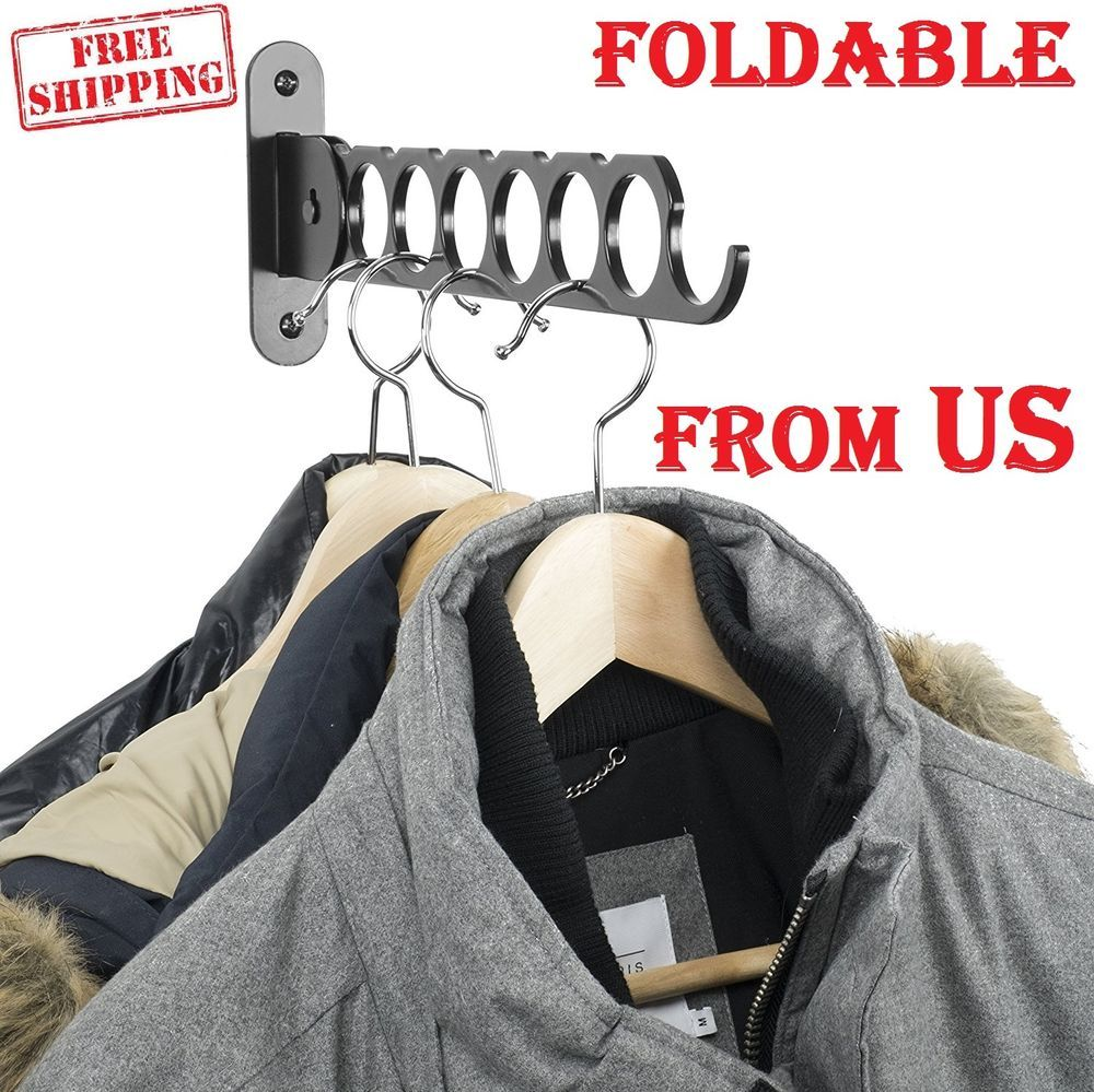 Details about clothes hangers holder folding arm wall mount laundry