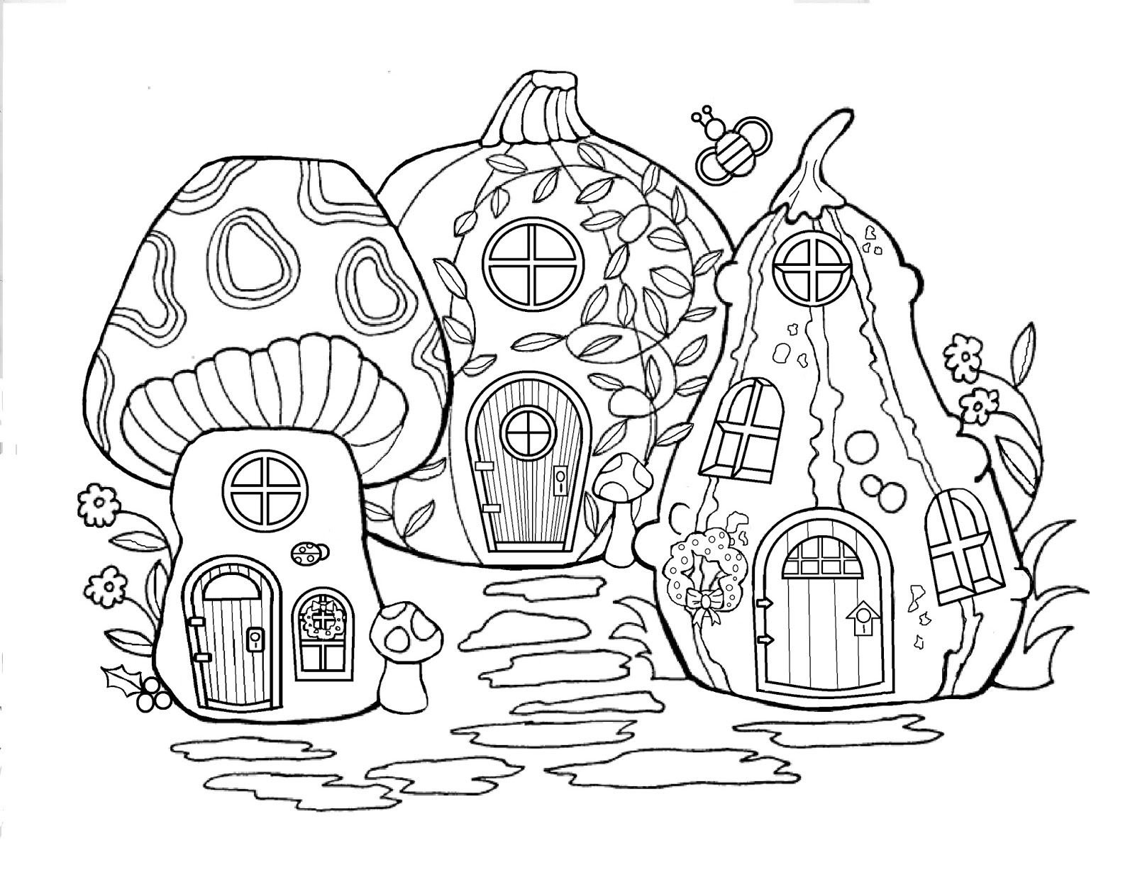 Princess house coloring pages - Printable Fairy Houses To Color Let It Shine Fairy Merry Christmas Day13