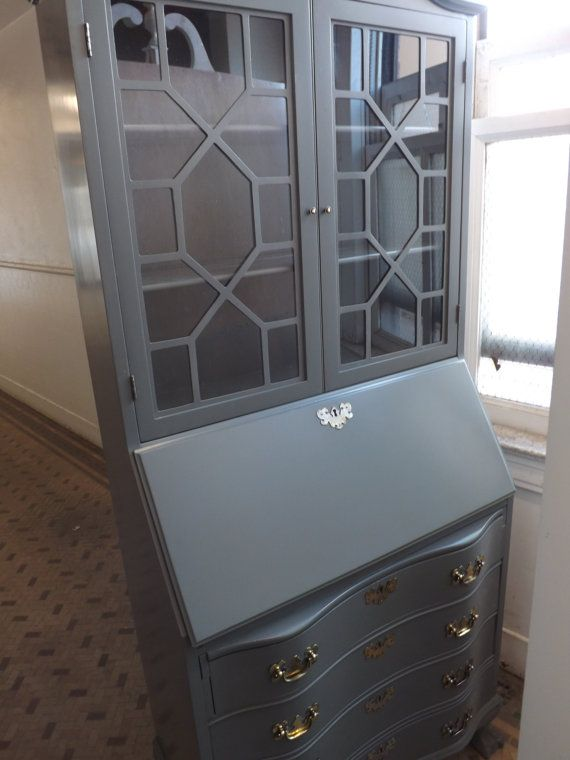 Reserved Gray Antique Secretary Desk Hutch Bookcase With Drop Front