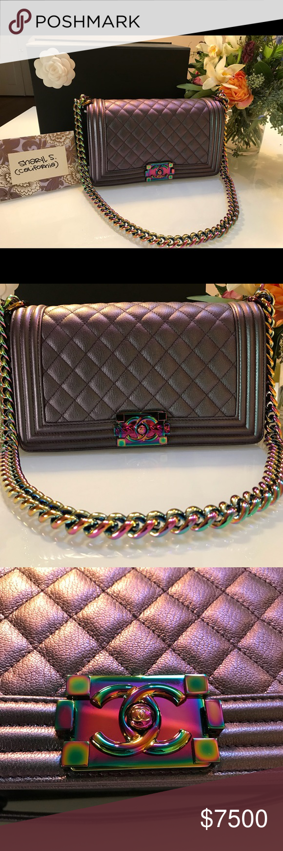 b336e64639ee Chanel Iridescent Boy Bag UNICORN ALERT SELLING PURPLE IRIDESCENT BOY BAG  IN OLD MEDIUM Comes with box, dust bag, serial sticker, care instructions.
