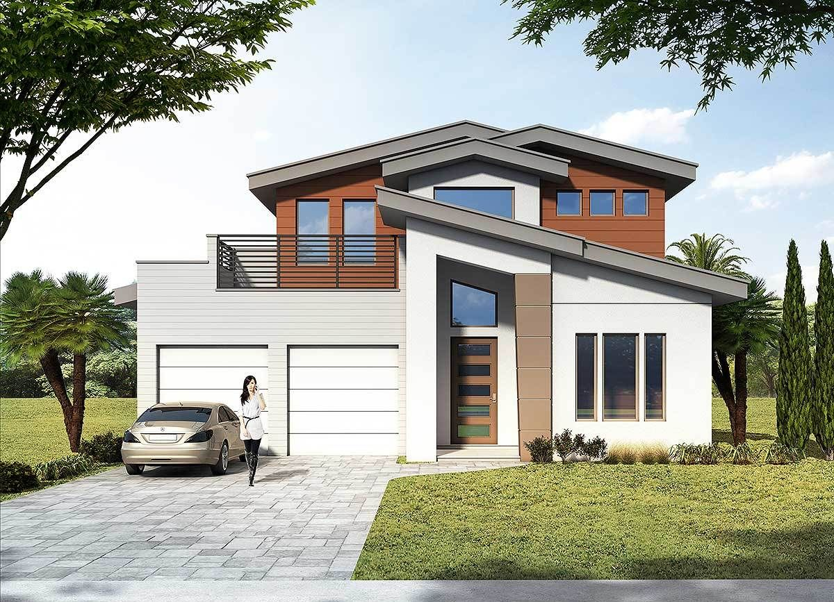 Plan 42841mj 3 Bed Modern House Plan With Upstairs Outdoor Balcony Outdoor Balcony Modern House Plan Architectural Design House Plans