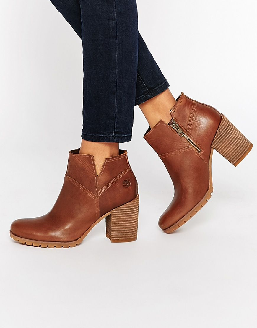 Shop Timberland Swazey Beige Heeled Ankle Boots at ASOS.