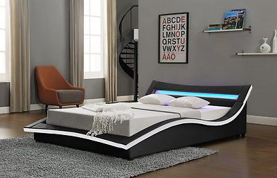 New Low Faux Leather Bed Led Light Headboard Double King Black White In Beds With Mattresses Ebay
