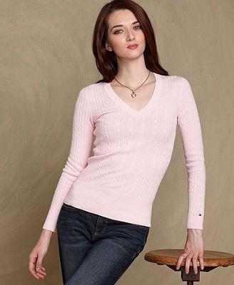 a5264732a81 Tommy Hilfiger Sweater, Jenny Long-Sleeve Cable-Knit V-Neck - Womens ...