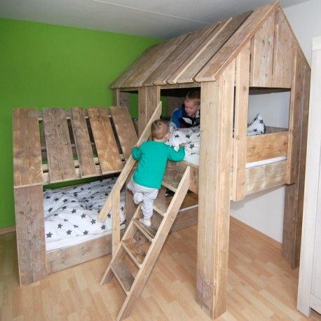 Goede kinderbed boomhut duo van steigerhout | Bedden in 2019 XK-76