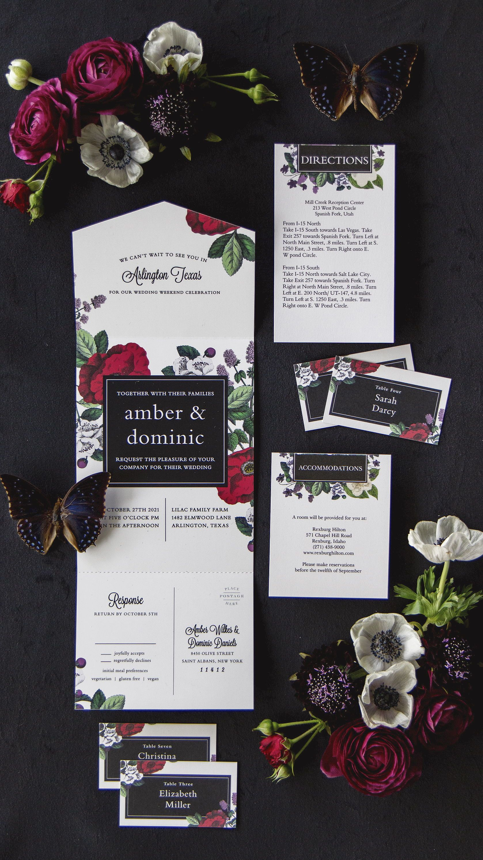 Vintage Botanical Seal And Send Wedding Invitations Goth Wedding Invitations Jewel Tone Wedding Invitations Moody Wedding Invitations Botanical Wedding Theme