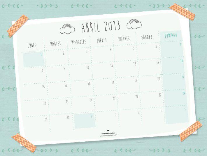 Descarga Tu Calendario Gratuito Del Mes De Abril En Www Unamamadisenadora Com Calendario Mes De Abril Diciembre