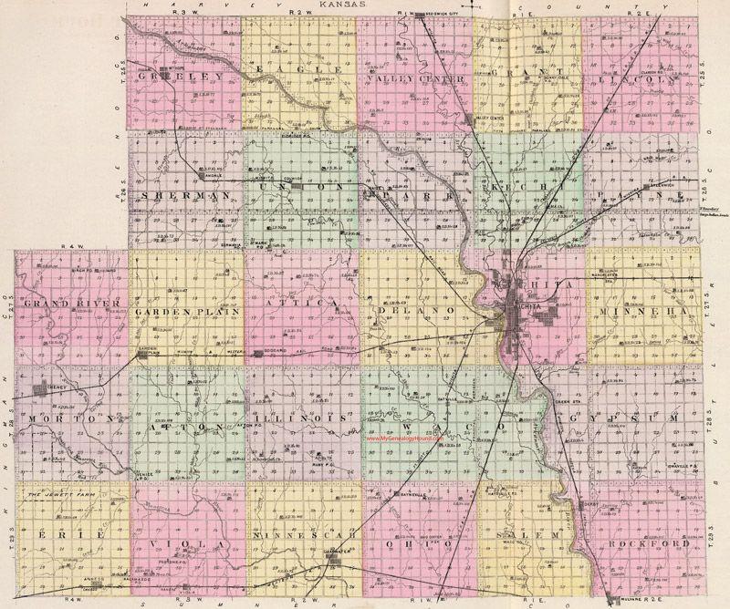Sedgwick County Kansas 1887 Township Map Kansas Map Kansas County Map