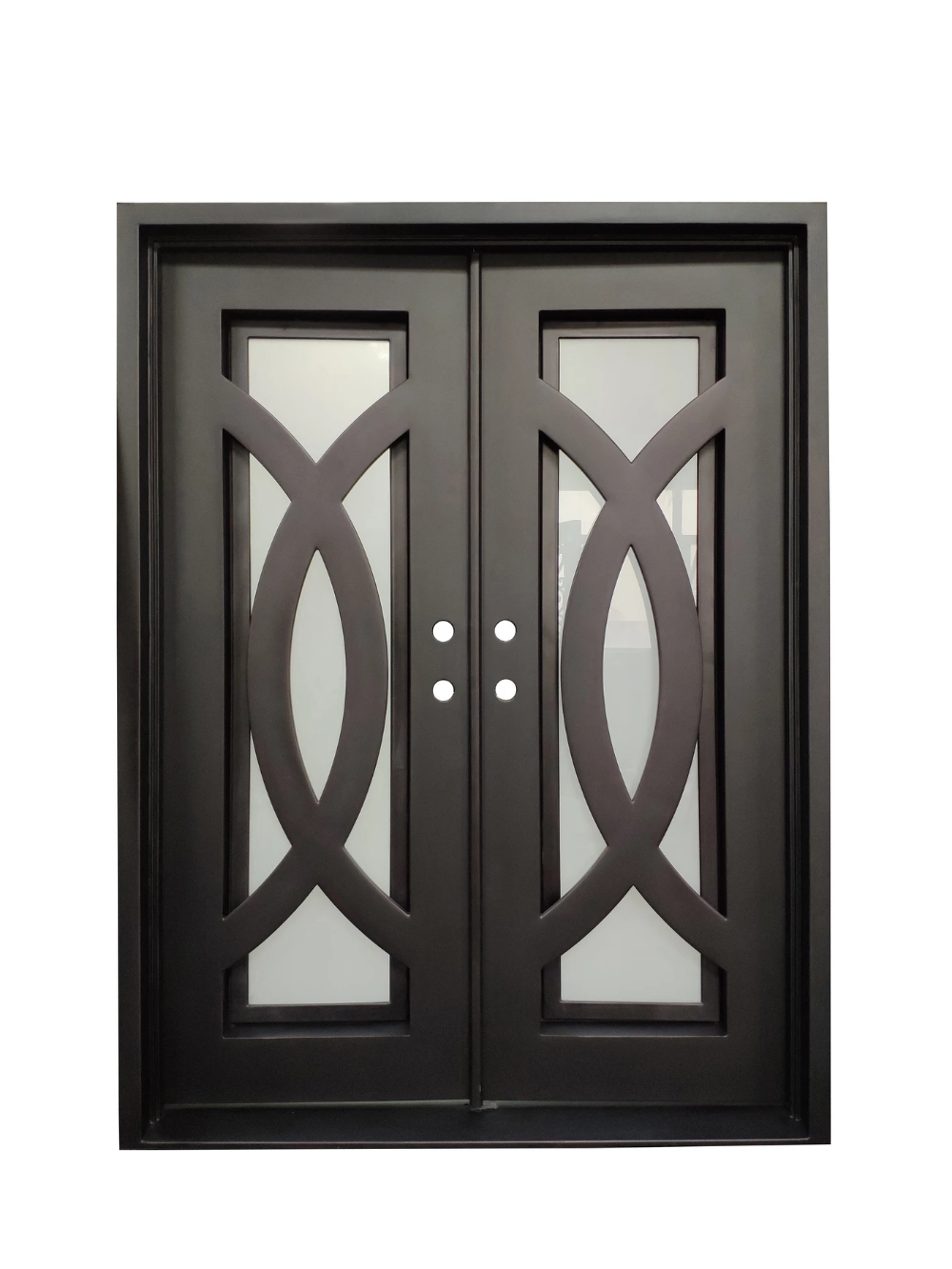 Bellevue Double Front Entry Wrought Iron Door Rain Glass 72 X 96 Iron Doors Wrought Iron Doors Iron Gate Design