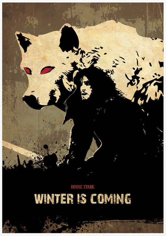 Of Thrones House Stark Winter Is Coming Poster