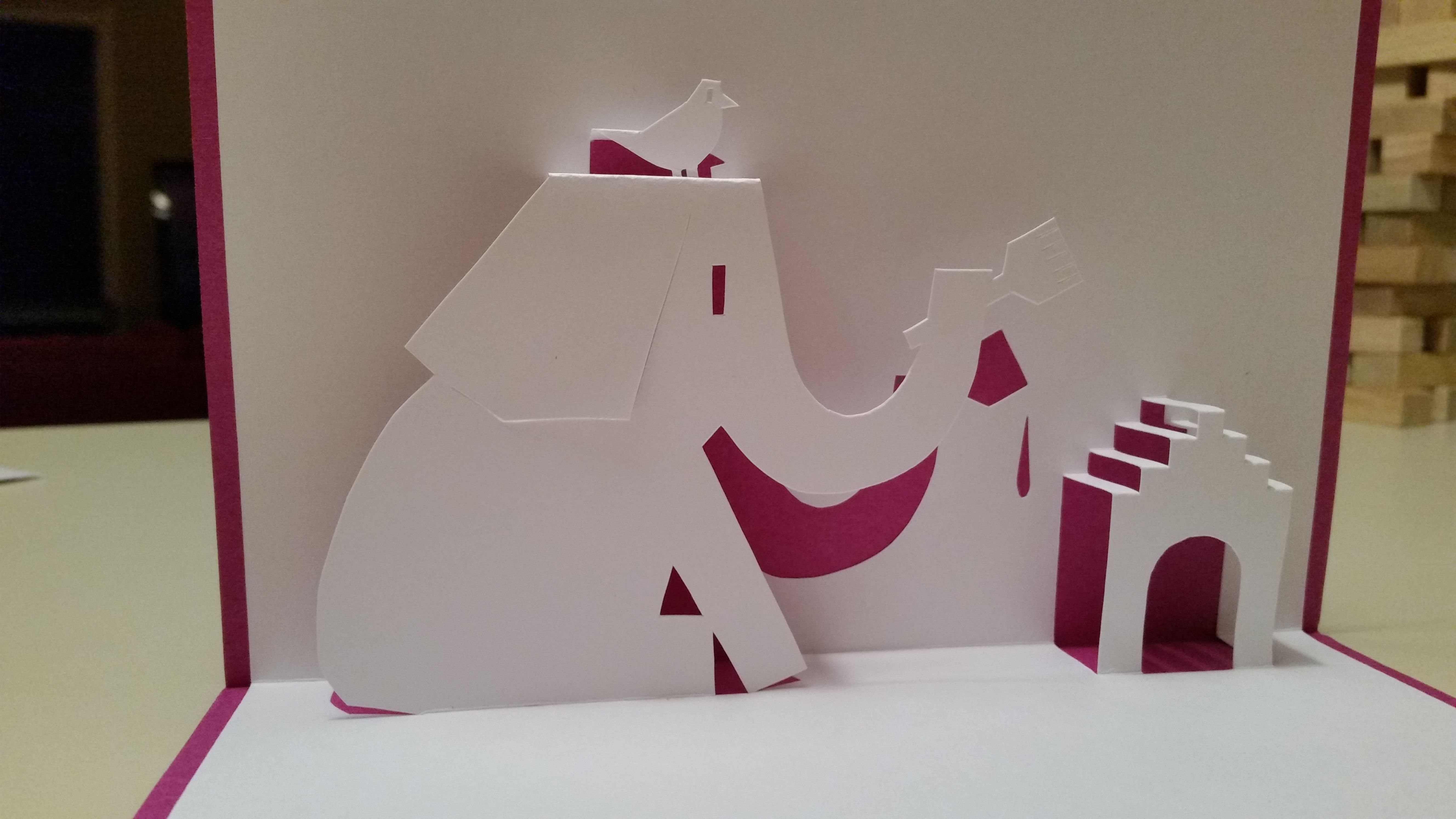 Elephant Painting Dog House Pop Up Card Template From Handmade Papercraft Club At Http Www5d Biglobe N Pop Up Card Templates Paper Crafts Elephant Painting
