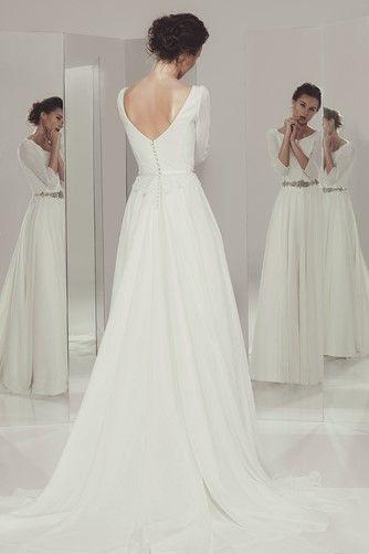 Aitana - Ivan Campaña - Vestido de novia evase con manga larga ...