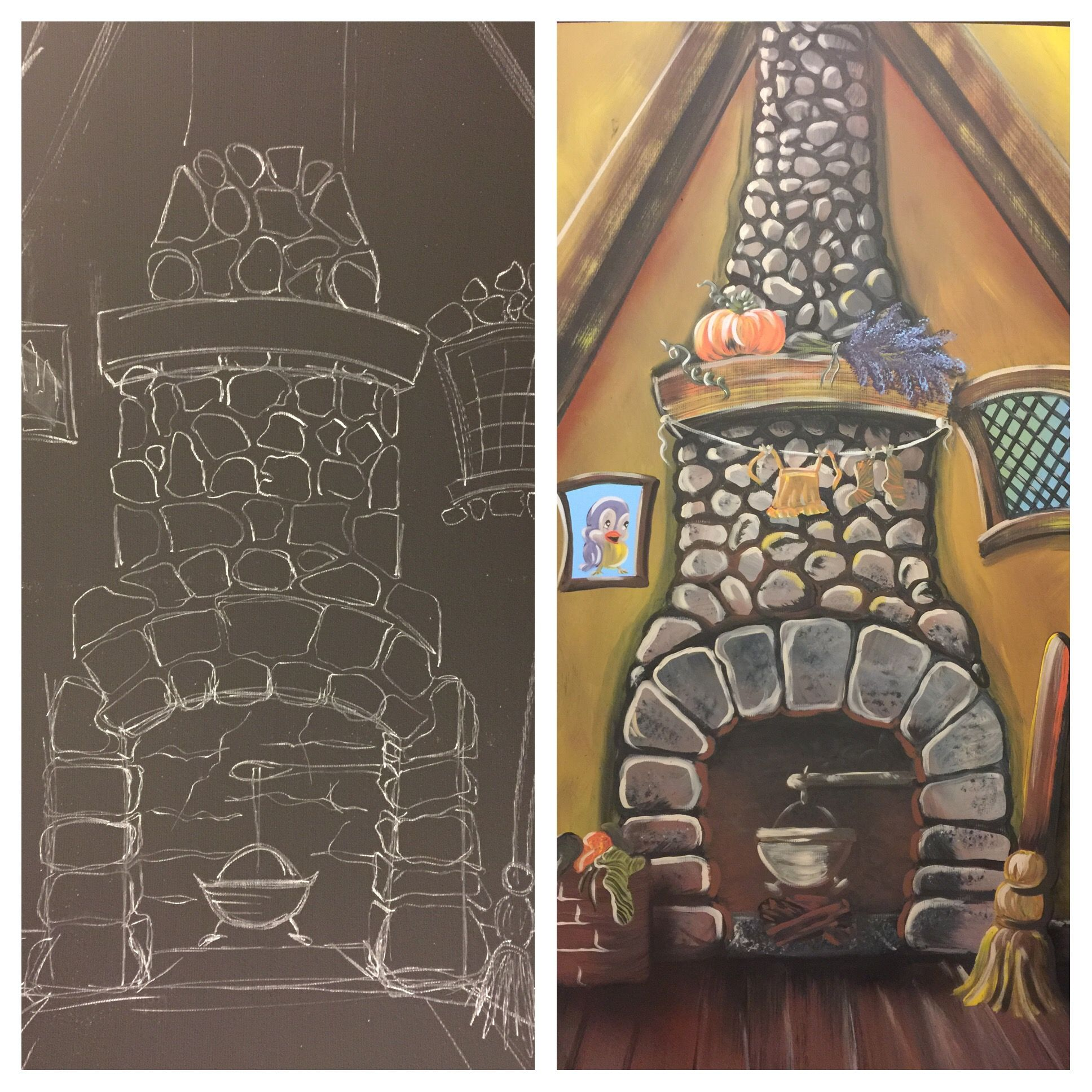 Into The Woods Jr I Designed And Painted For A School Cinderella S Fireplace Cinderella Musical Cinderella Play
