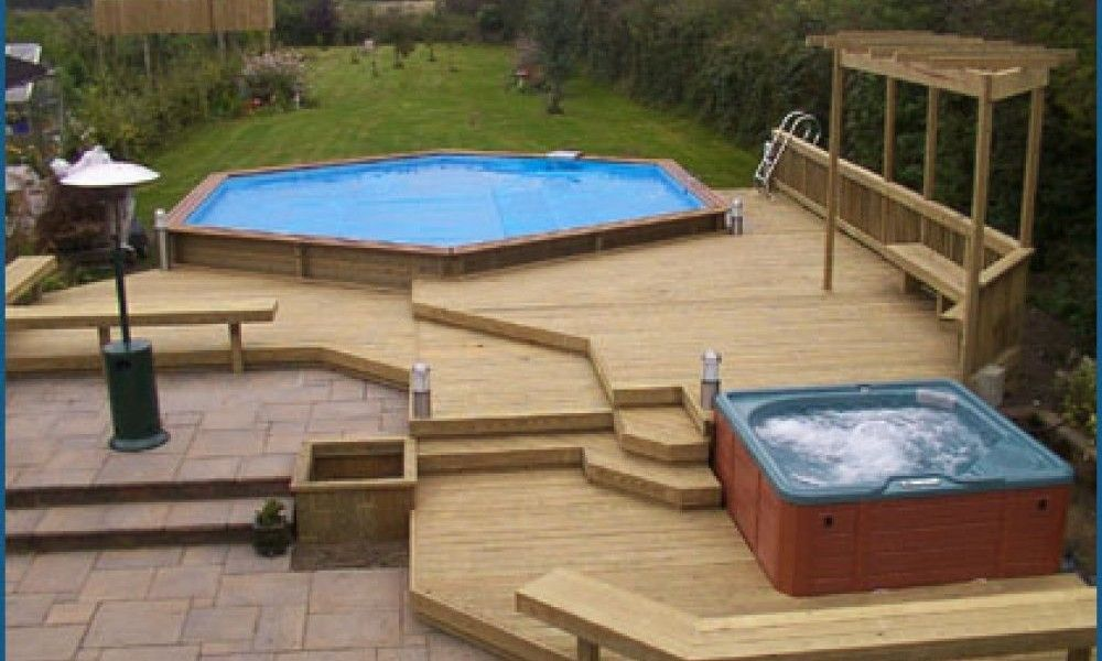 Rectangle Above Ground Pool Decks multi level above ground pool deck photos | outdoors | pinterest